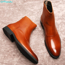 2019 New Ankle Chelsea Boots Men high quality Handmade Genuine Cow Leather Autumn Office Round Toe men boot