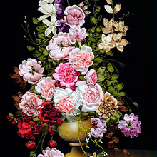 75X52cm Roses DIY 3D Print Ribbon Embroidery Cross Set Needlework Unfinished Wall Painting Craft Gift Living Room Decoration