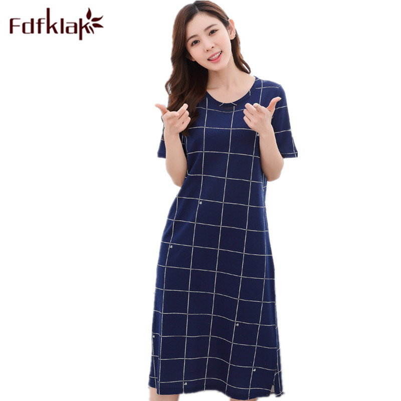 Fdfklak Hot Nighties Summer Womens Sleepwear Nightgown Ladies Cotton Nightdresses Sleeping Gown Nightgown Plus Size M-XXL Q964