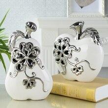 цена на Creativity Ceramic Carving apple  pear home decor crafts handicraft plant fruit ornament porcelain figurines wedding decorations