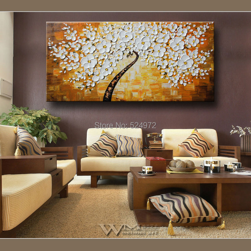 Hand painted modern home idea decoratio wall art picture white yellow tree thick palette font b
