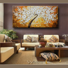 Hand-painted modern home idea decoratio wall art picture white-yellow-tree thick palette knife oil painting on canvas no frame