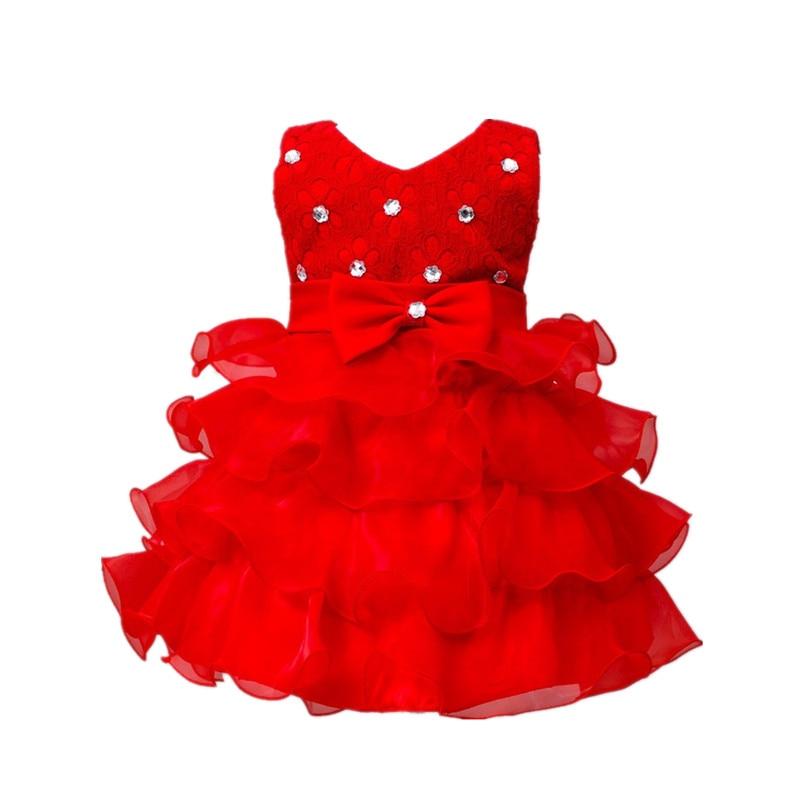 5 color 2016 Summer Girls Wedding Party Dresses Princess baby girls dress baby girls Tutu dress bowknot Dress for newborn