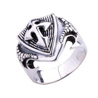 925 Sterling Silver Vintage Crusades Cross Sheild Ring Men's Fashion Jewelry Cocktail Rings