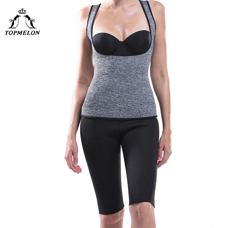 TOPMELON Neoprene Sauna Tops Belly Slimming Sheath Waist Trainer Shapewear Body Shaper Corset Sweat Sleeveless Underbust Vest