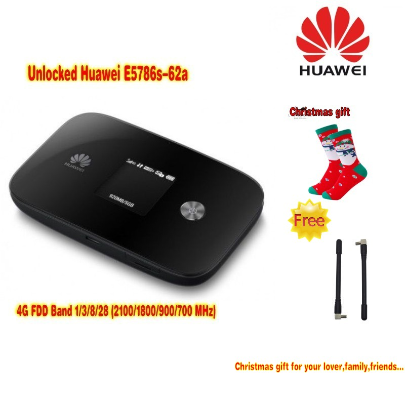 Unlock 300Mbps HUAWEI E5786S-62A 3G 4G WiFi Router With 2pcs antenna And 4G LTE Cat6 Mobile WiFi+ Cotton Christmas Women Socks