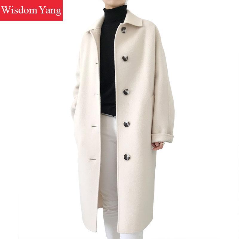 Femmes Coat vent Pardessus Longue Survêtement Hiver Coatladies Élégant Femelle Beige De 2018 Alpaga Mouton Manteaux Femme Laine Coupe Plaid EwZqvwU