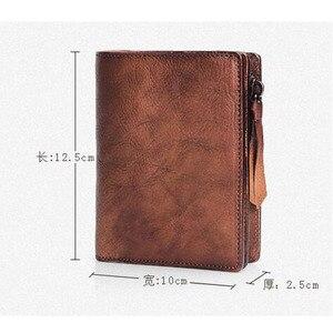 Image 5 - AETOO cartera de cuero suave hecha a mano para hombre, Cartera de sección vertical corta, Estilo Vintage, de cuero curtido vegetal