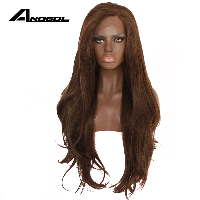 Anogol High Temperature Fiber Long Natural Wave Dark Brown Synthetic Hair Lace Front Wig For African