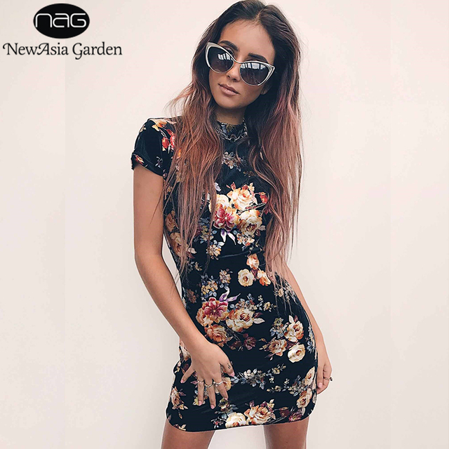 NewAsia Garden Summer Dress 2018 Oriental Bodycon Floral Dress Women Sexy  Dress Backless Bandage Lace up e23cf7661f4c