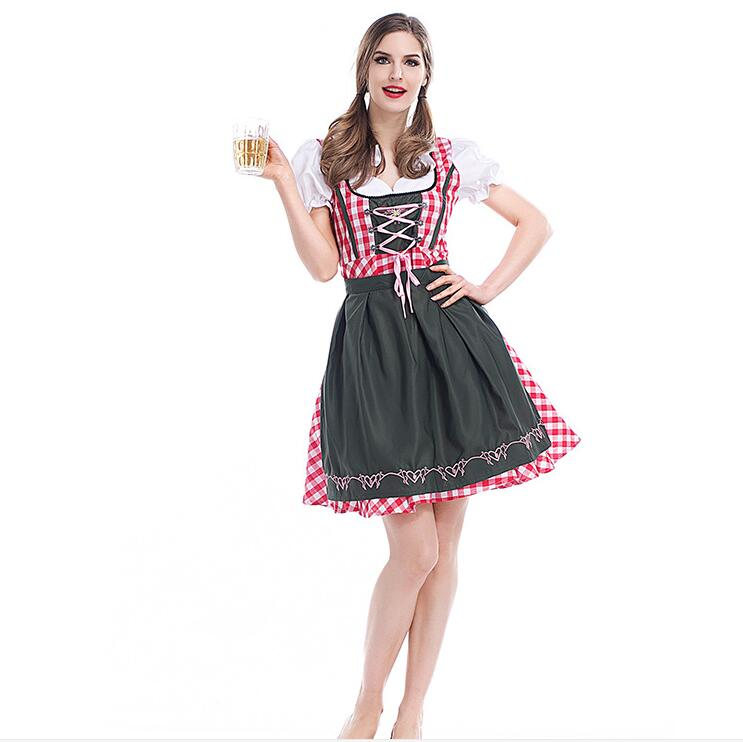 Oktoberfest Beer Festival October Dirndl sexy Maid lingerie Dress Apron Blouse Gown German Wench 6XL Costume