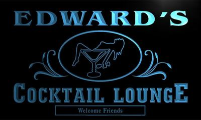 x0019-tm Edwards Cocktail Lounge Custom Personalized Name Neon Sign Wholesale Dropshipping On/Off Switch 7 Colors DHL