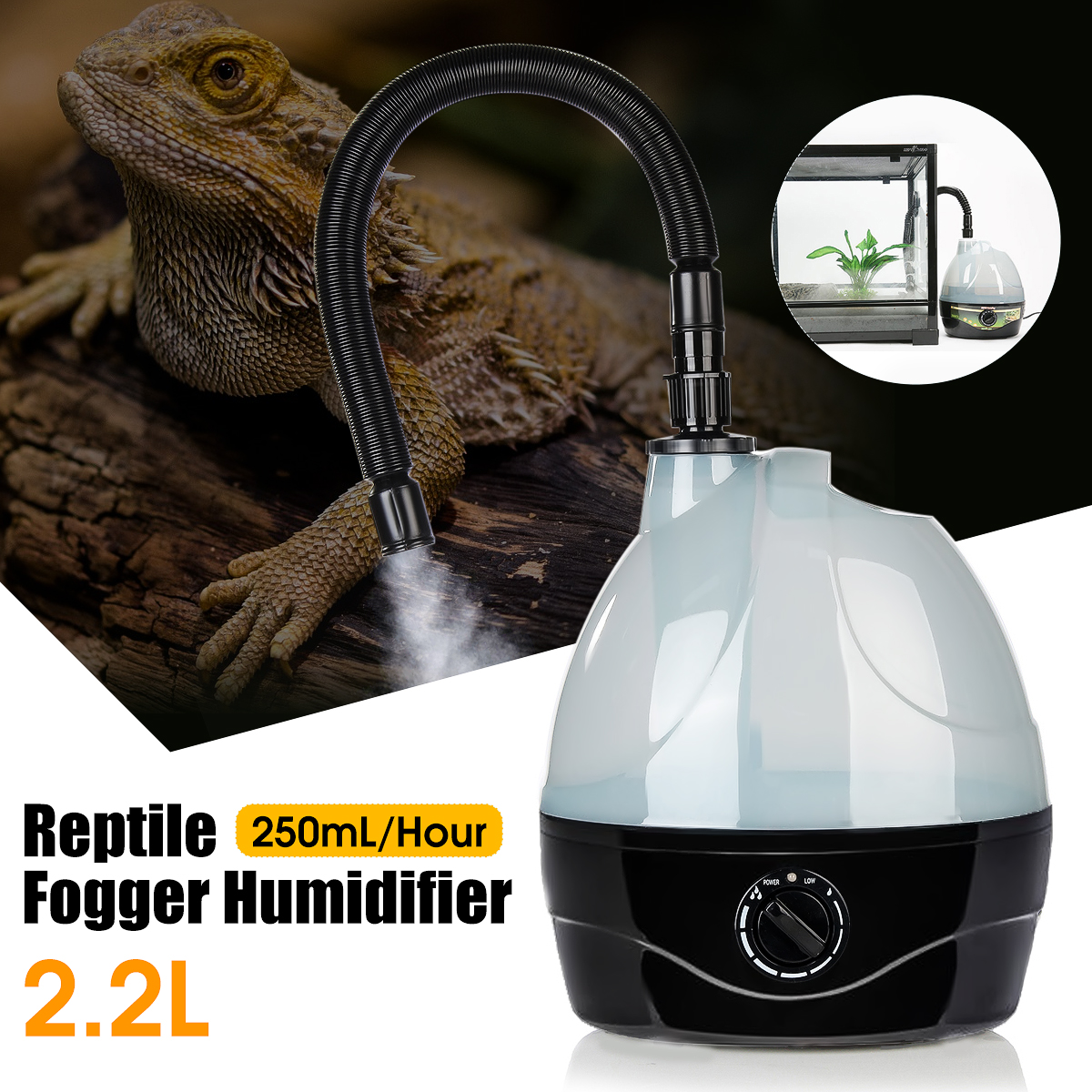 warmtoo NEW 1 pcs Brand New High Quality 2.2L Tank Amphibians Reptile Fogger Humidifier Vaporizer Fog Maker Generator