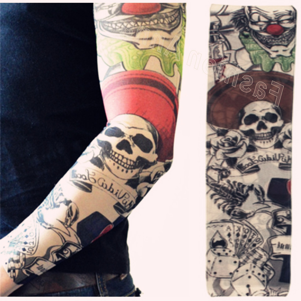 Arm Warmers For Women Tattoo Arm Sleeve Sun Block Nylon Baseball Digital Reusable Tattoos For Men Summer Casual Styles
