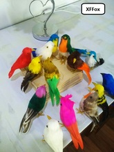 10 pieces simulation colourful bird model toys foam&feathers small dolls gift about12-15cm xf0515