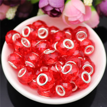 10pcs Clear Red Color Cut Faceted 5mm Hole Round Plastic Resin Spacer Beads Charms fit for Pandora Bracelet DIY Jewelry Making