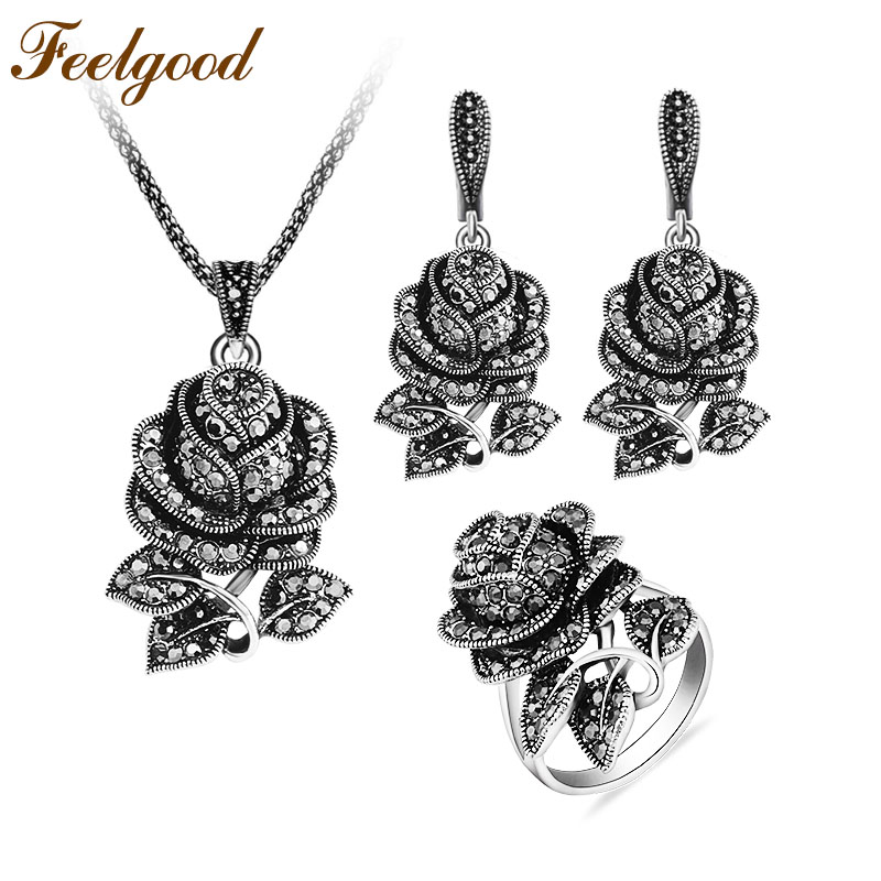 Feelgood Vintage Silver Color Jewellery Set Fashion Black Crystal Rose Flower Jewelry Sets For Women Wedding Party Gift dr feelgood