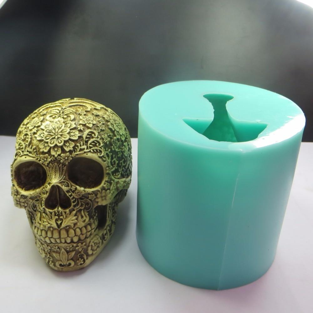 QT0006 gel di Silice Halloween prugna fiore Del Cranio Del silicone muffa 3D skulls testa di sapone torta al cioccolato muffa della torta del fondente stampi da cucina