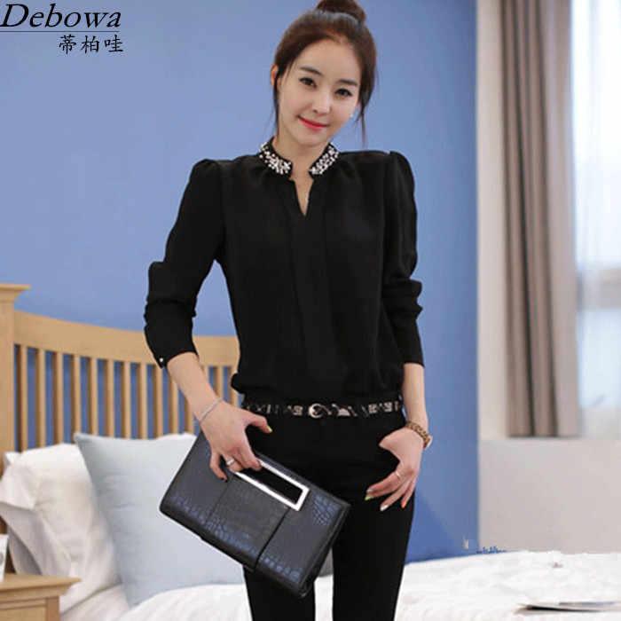 bedd5f1a296 Модная шифоновая рубашка Женская 2016 Новая Осенняя Черная Женская блузка с  длинным рукавом с v-