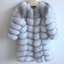 Real fur 2018 fox fur vest is 90 cm long coat sleeves design women free shipping the sleeves can be dismantled