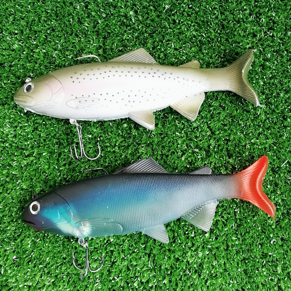 Swolfy 134g 20cm Lifelike Fishing Lures Swimbait Deep Sea Soft Lead Big Fish Bass Bait Isca Artificial Lures Fishing Tackle