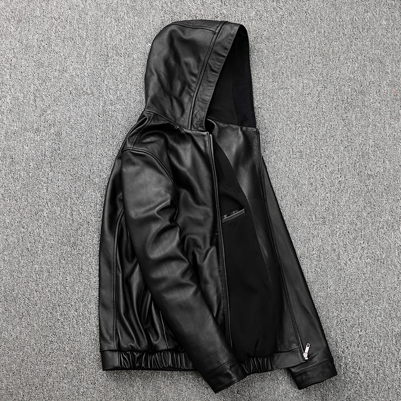 Free Shipping,Plus Size Mens Casual Genuine Leather Jacket.autumn Sheepskin Coat.sale Young Fashion Leather Outwear.quality