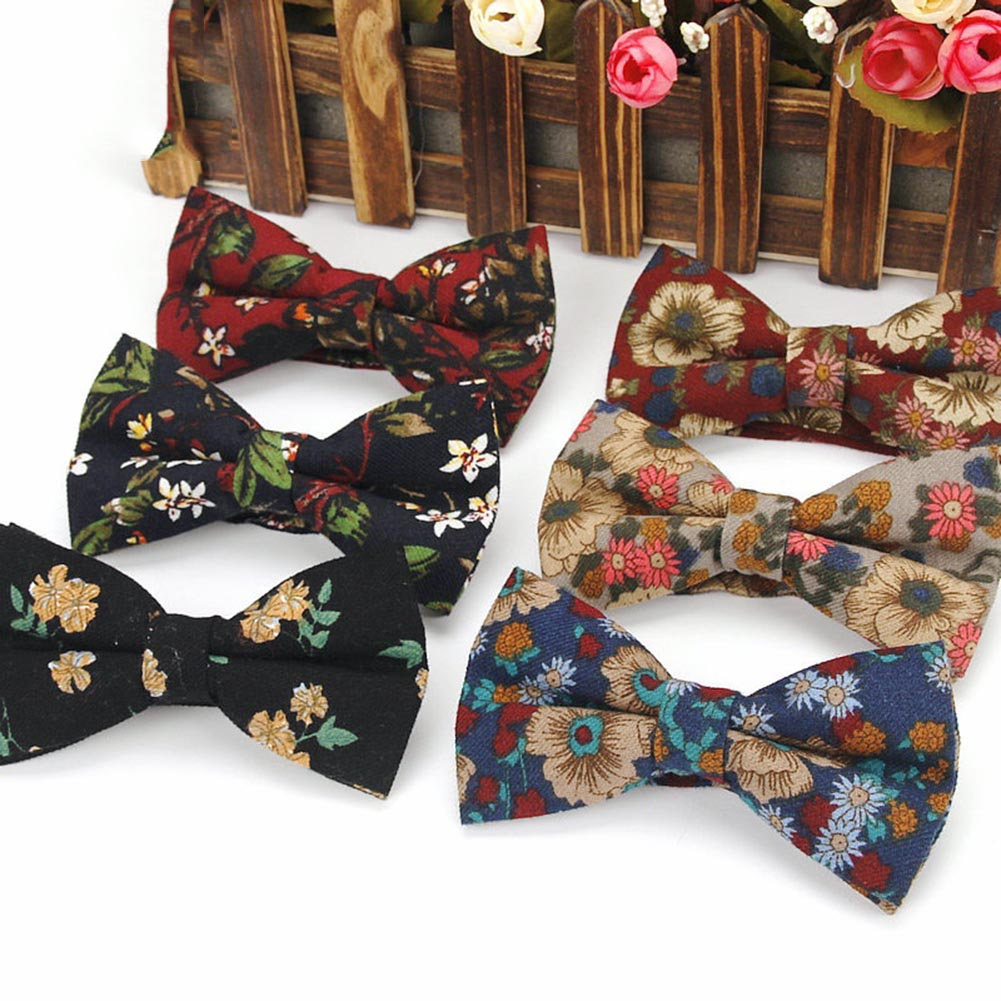 Men Bow Tie Necktie Floral Printing Vintage For Wedding Business Party Groom Suit FS99