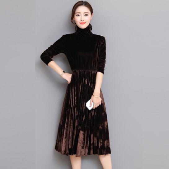 5XL Women Green Black Velvet Dress Winter Turtleneck Dress Long ...