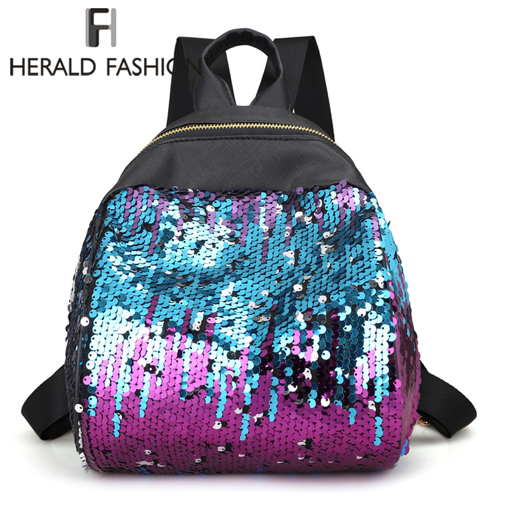 Herald Fashion Women Leather Backpack Quality Colorful School Bag For Teenage Girl Female Shoulder Bag Traveling Bagpack mochila women backpack black red fashion style school daypacks funny quality pu leather small shoulder bag teenage girl travel back pack