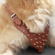 NEW Collar Adjustable Spiked Studded Rivets PU Leather Dog Pet Harness Walking Collar Leash for Pitbull