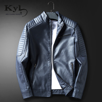 2017 Stand Collar Men S Leather Jackets Fashion Solid PU Motorcycle Leather Casual Men S Leather