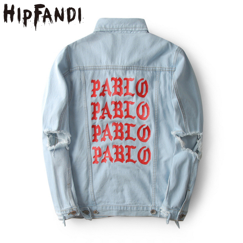 HIPFANDI Top Quality Pablo Denim Jackets Men Hip Hop Brand Clothing Streetwear Jeans Jac ...