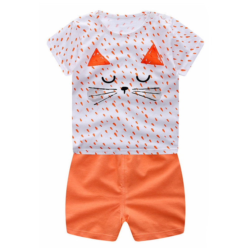 2018 Newborn Infant Baby Boys Girls Cartoon Cat Tops Shirt+Pants Outfits Set Clothing children For 6Months-3 Years P2