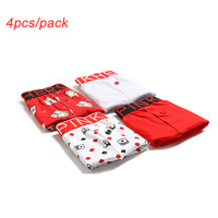 4pcs/pack Mens Underwear Boxers Shorts Cartoon Print Trunks Male Underpants Boxer Underwear 100% Cotton Pants