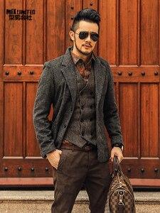 Image 4 - Casual Mannen Blazer Zakelijk Slim Fit Kostuum Homme Pak Blazer Masculino Mannelijke Wollen Jasje Blazer Hombres Ocasionales F196