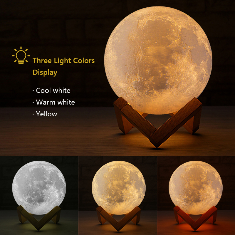 Moon Lights Bedroom: Rechargeable 3D Lights Print Moon Lamp 3 Color Change