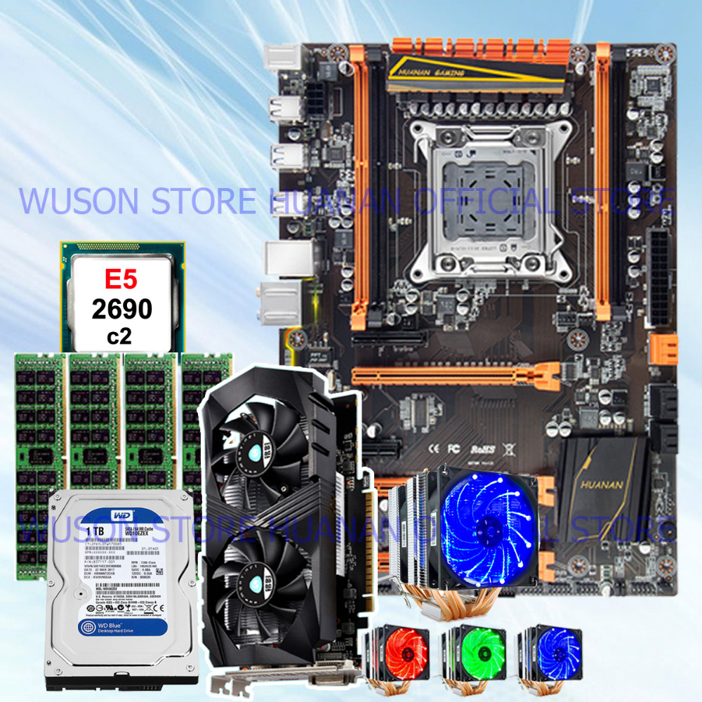 HUANAN ZHI deluxe X79 motherboard with M.2 slot CPU E5 <font><b>2690</b></font> C2 CPU cooler RAM 32G(4*8G) DDR3 RECC 1TB 3.5' SATA HDD GTX1050Ti 4G image