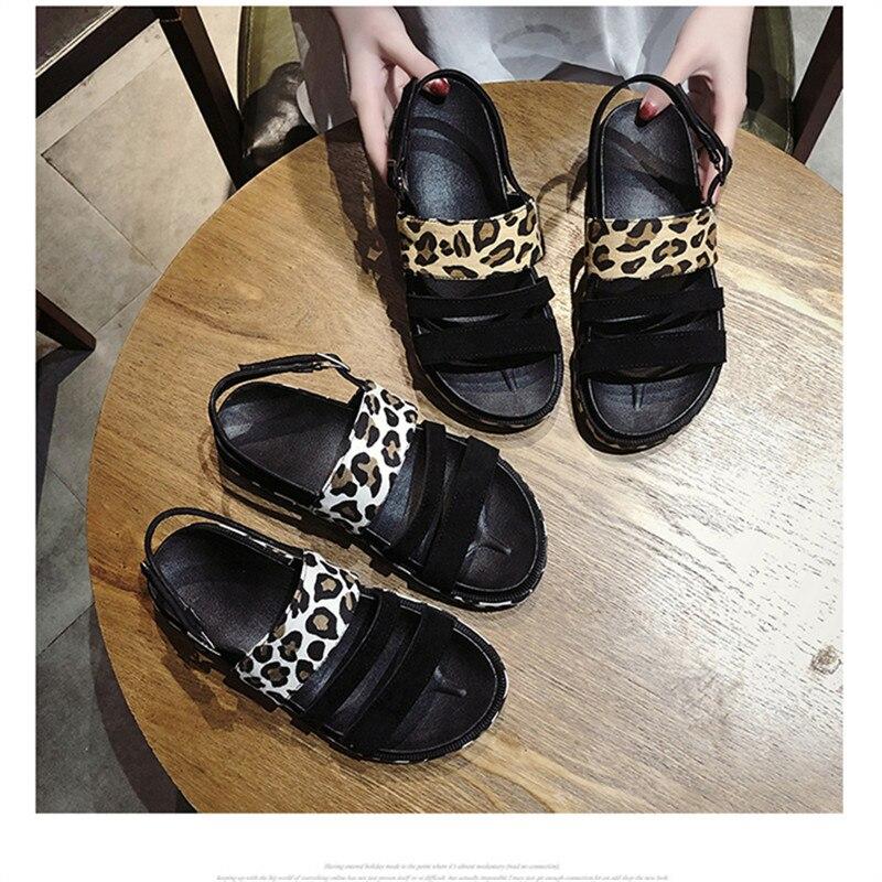2019 Fashion Hot Selling Leopard open toe Buckle Casual women sandals Summer walking footwears middle heels sandalias mujer 15