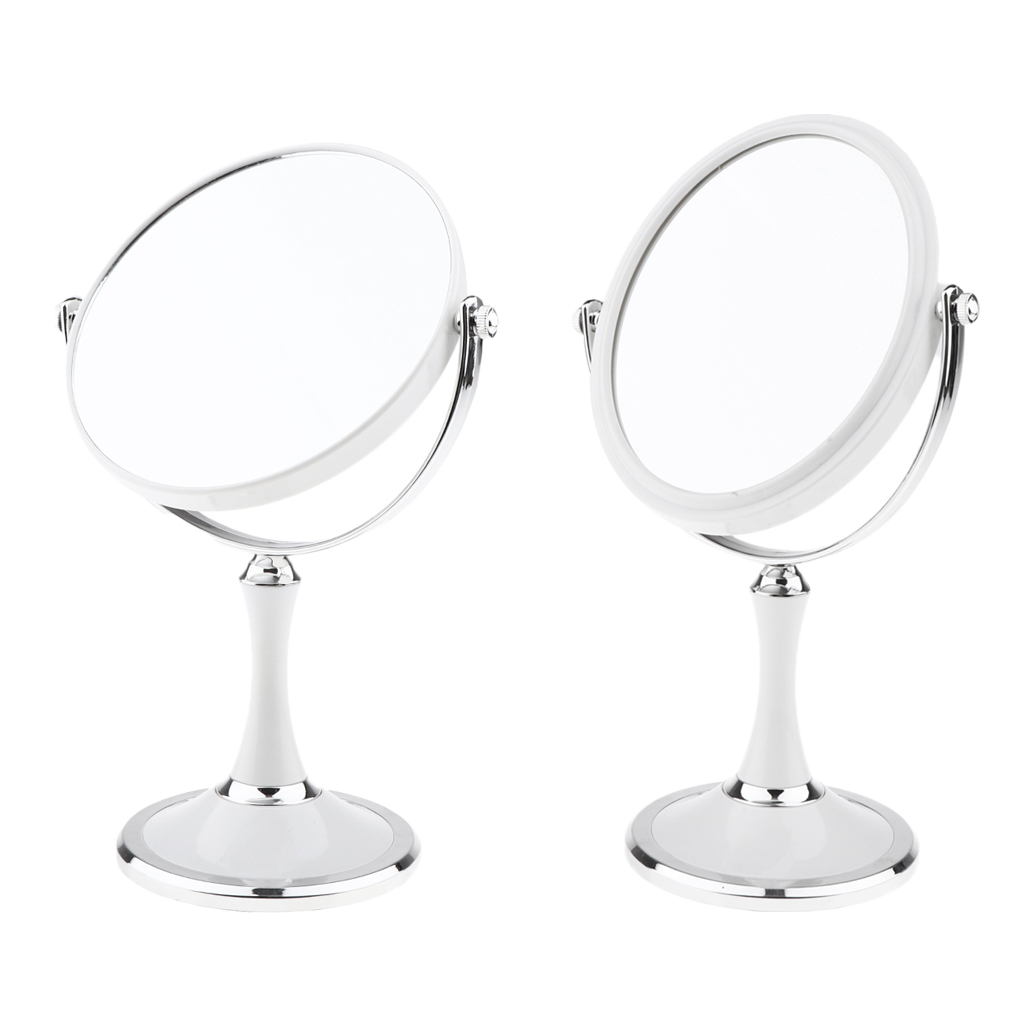 Bathroom Vanity Double Sided Freestanding Pedestal Makeup Shaving Mirror with Regular View and 3X Magnification