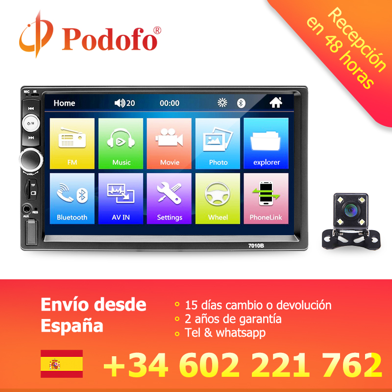 Podofo Autoradio 2 din Car Radio Multimedia Video Player 7Auto Stereo Bluetooth MP5 2Din Touch Screen Digital Display USB SD FM