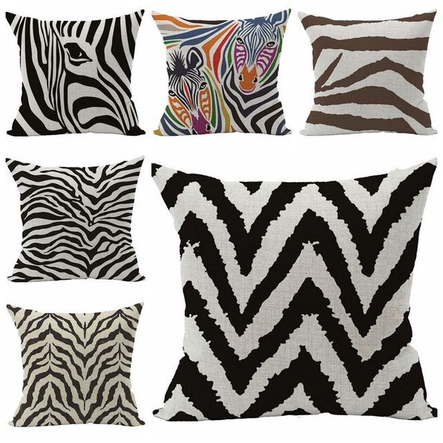 creative zebra cushion cover modern christmas decorations for home cotton linen throw pillow case almofad for - Christmas Zebra Decorations