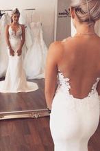Ivory Appliqued Mermaid Wedding Dress Long See Through Sleeveless Beach