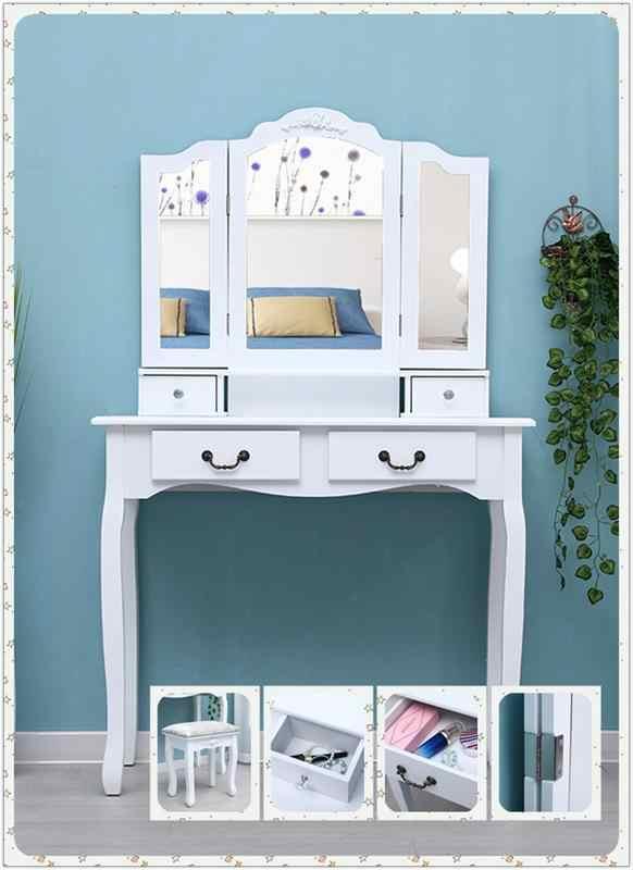 AUGKUN Tri-fold Mirror 4-Drawer Dresser Dressing Table with Dressing Stool White For Women Living Room