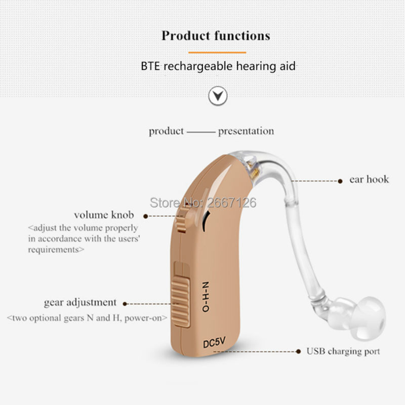 rechargeable BTE hearing aid C-122 for serious hearing loss free shipping small size odeur куртка