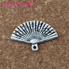 Folding fan charm Pendant 100Pcs/lot Hot sell Antique Silver alloy Jewelry DIY 24.5* 17.5mm A-204
