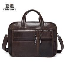 Men s Genuine Cowhide Leather Handbags Clutch Strap Shoulder Bags Fashion Briefcases Vintage Messenger Laptop Bags