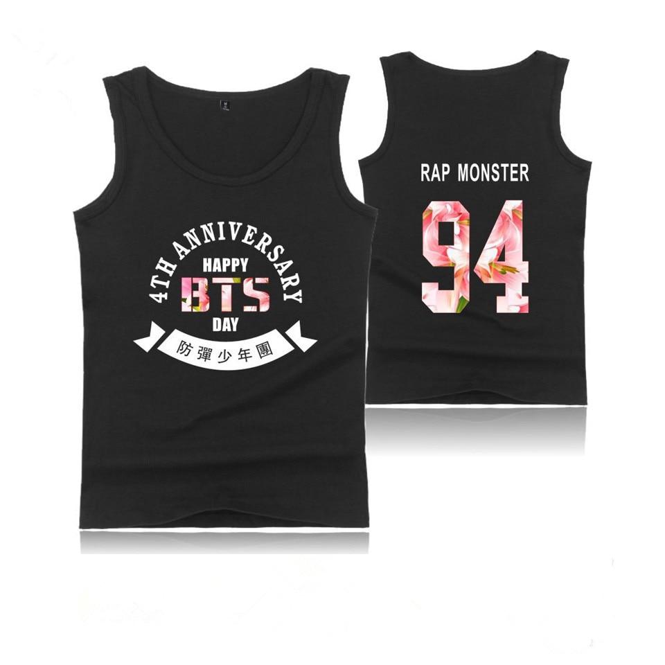 BTS Fourth Anniversary Hot Sale Summer Bodybuilding Tank Tops Men Kpop Tank Top Men Fashion Black White Casual Cotton Vest BTS