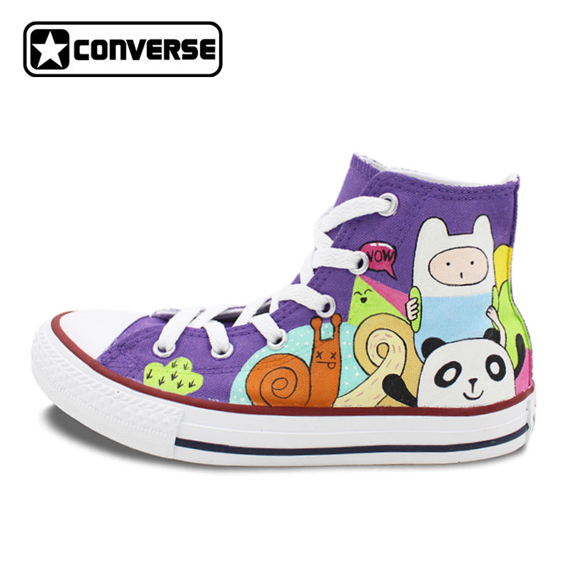 Purple Converse All Star Girls Boys Shoes Custom Adventure Time Design Hand Painted Shoes Women Men Sneakers Man Woman sneakers men women converse all star anime fairy tail galaxy design custom hand painted shoes man woman christmas gifts