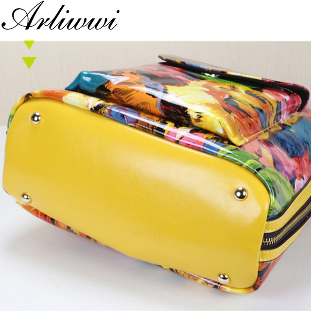 Luxurious Shiny Patent Cowhide Oil Painting Floral Multi Function Top Quality Yellow Sunflower Back Bags