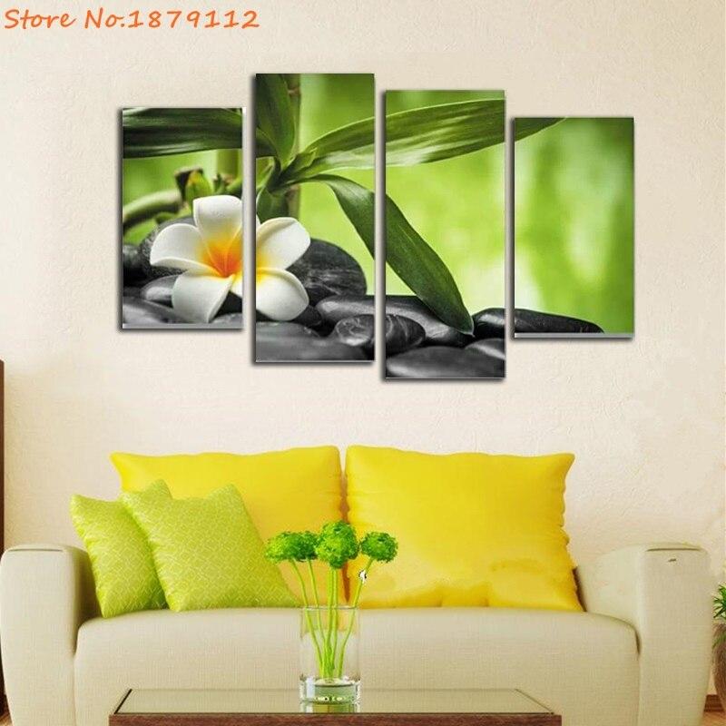 4 Pcs/Set Flower Black Cobblestone Zen Buddhism Canvas Print ...